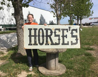 63 x 27 Horses Vintage Metal Advertising Sign Cowboy Stable Corral Folk Art