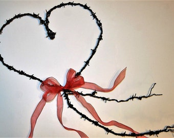 Barbed Wire Heart - Country Western Heart - Valentine Heart - Wedding Heart - Black Barbed Wire Heart - Black Heart