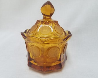 Vintage amber fostoria coin glass candy dish collectors item