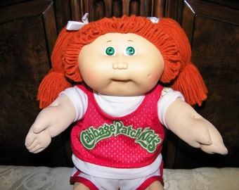Vintage Cabbage Patch Kid Doll #6 HM~ Red Ponies/Green Eyes