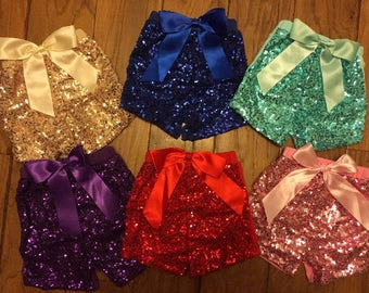 Same /Next Day Shipping! Sparkly Sequin Shorts- Purple, Blue, Pink, Mint/Aqua, Black and Gold - Sparkly, Glitter Girls Birthday Shorts