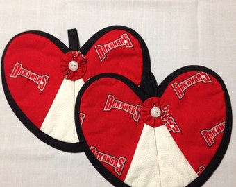 Arkansas Razorback Heart Shaped Hot Pad Set of 2