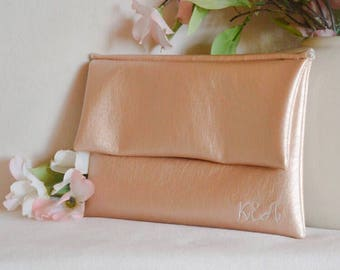 Monogram clutch - rose gold clutch purse - personalized bridesmaid gift - bridesmaid clutch - wedding handbag - color block fold over clutch