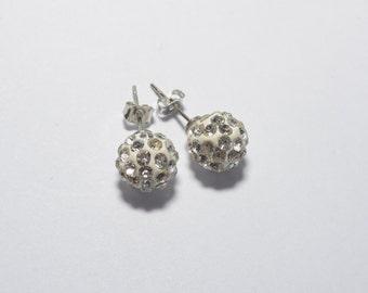 White round earrings, bling earrings, disco ball earrings, glitter earrings, party earrings - sold in pair