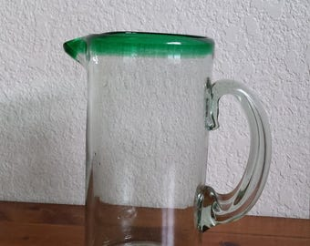 Hand Blown Mexican Glass Pitcher
