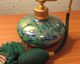 Beautiful blue & green glass perfume bottle