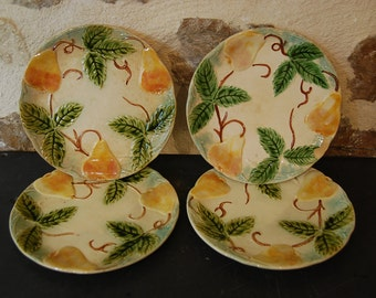 3 vintage French majolica dessert plates for fruit course, decor with pears and leaves. Pretty wall decor. French barbotine.