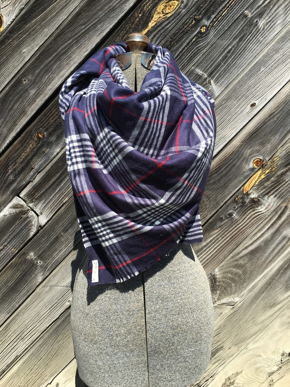 navy, white and red large scale plaid blanket scarf with leather detail