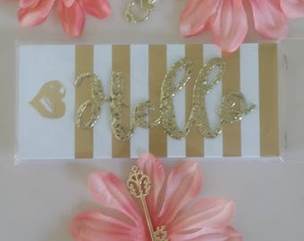 "Gold ""Hello"" Notepad"