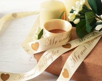 Wedding 25mm Personalised Printed Ribbon - Wedding Gift Wrap - Wedding Ribbon - Anniversary Gift Wrap