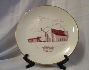 Vintage Sterling Colorado First Christian Church Decorative collectible plate
