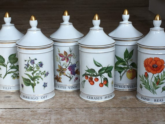 Limoges Warin pharmacy ceramic containers set of six