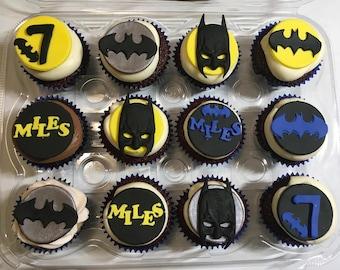 1 Dozen custom Batman cupcake toppers