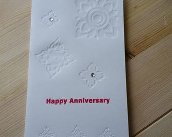 Happy Anniversary  Card - Red - Letterpress with Thai Graphic