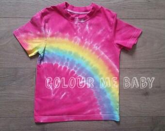 Rainbow tie dye kids tshirt
