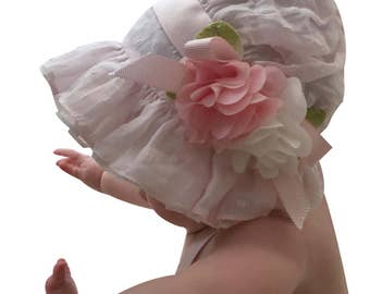 Pink Voile Dot and Organdy Ruffles Baby Bonnet
