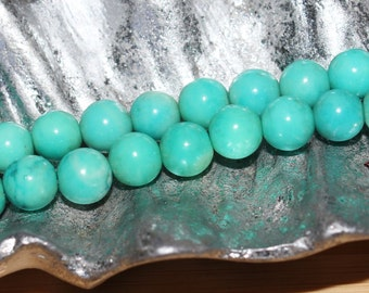 """16"""" Strand of 6mm Smooth Round Magnesite ***Dyed Green/Blue Turquoise Beads #15"""