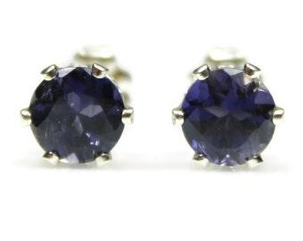 Iolite Earrings 925 Sterling Silver September Birthstone Presents for Mom 4mm or 6mm Sapphire Dark Blue Studs Gemstone Jewelry Niece Gift