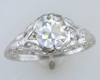 Antique GIA Certified 1ct Diamond Lovebird 18K White Gold Deco Engagement Ring