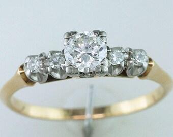 Vintage Antique 1/2ct Diamond 14K Gold Art Deco Engagement Wedding Ring