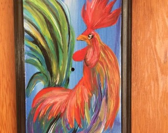 Rooster Painting// Colorful Rooster Painting// Acrylic paint on Reclaimed Cabinet door