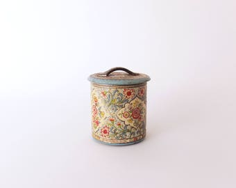 Vintage Dutch Tin - Embossed Floral Enamel Tin - Made in Holland