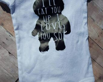 Where The Wild Things are onesie I'll eat you up I Love You So
