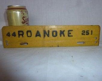 Vintage 1944 Roanoke Virginia City Tax License Plate,  WW II SOYBEAN!!!