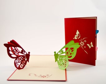 Greeting Card - Love Card - Pop Up Card - 3D Valentine Card - Flower Card - Butterfly Card - Proposal - Paper Good