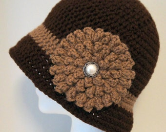Brown Cloche Hat, Espresso Flapper Hat, Winter Hat, 1920s Womens Hat, Vintage Hat, Gift for Her, Bucket Hat, Crochet Hat, Womens Fashion