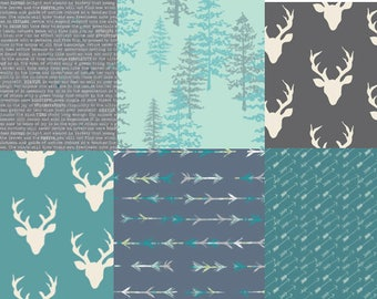 Woodland Fat Quarter Bundle, Blue Fabric Bundle, Modern Fabric, Art Gallery Bucks, Antlers, Stags, Arrows Trees, Teal and Gray, Charcoal