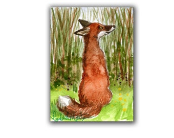 Special Spring Collectors Love Red Fox 1 Art Work Miniature Original by llmartin ACEO Watercolor