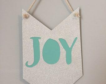 JOY pennant banner // christmas decor, holiday decor, hostess gift, merry & bright, PEACE