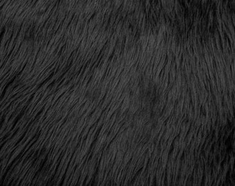 """Luxury Long Pile Faux Shaggy Fur Fabric - Sold By The Yard - 60"""", Color Black"""