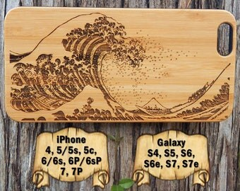 Great Wave Off Kanagawa, iPhone 7/7P 6/6s 6P/6sP 5/5s/5c 4/4s, Galaxy S7/S7e S6/S6e S5 S4, Laser Engraved Wood Phone Case, Vintage Art