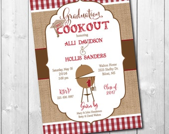 Graduation Party Cookout Invitation printable/Digital File/class of 2018, graduation bbq, senior party, red white/wording can be changed