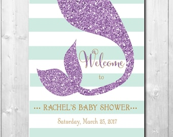 Mermaid Welcome Sign baby shower birthday/DIGITAL FILE/8X10/wording and colors can be changed, printable, any size