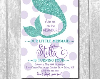 Mermaid Birthday Invitation printable/Digital File/Under the Sea, girl swim party, girl pool party, mermaid swim /Wording can be changed