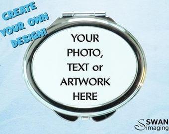 Custom Oval Compact Mirror ~ Personalised Oval Mirror Compact ~ Photo Compact Mirror ~ Purse Mirror ~ Bridesmaid Gift