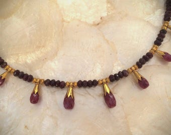 gemstone necklace with ruby and solid gold 20k 18k
