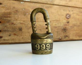 Antique Brass 999 Padlock / vintage Padlock 1910 / Antique Scandinavian Padlock / antique lock design by M. Jackson / brass lock No Key