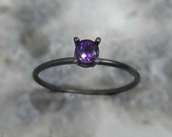 Oxidized Silver amethyst ring / Silver engagement ring / Genuine amethyst ring / Faceted amethyst ring