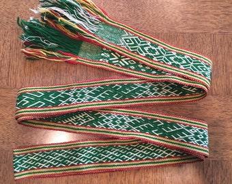 Woven Latvian belt in forest green