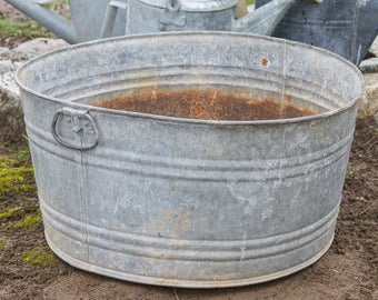 Antique Galvanized Wash Tub, Galvanized Wash Pot with Drop Handles, Large Rustic Planter, Primitive Farmhouse Antiques, French Cottage Chic