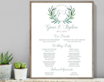Greenery Wedding Welcome Sign / Bridal Party Sign / Eucalyptus Crest / Initial Monogram, Eucalyptus ▷ Printable File {or} Printed & Shipped