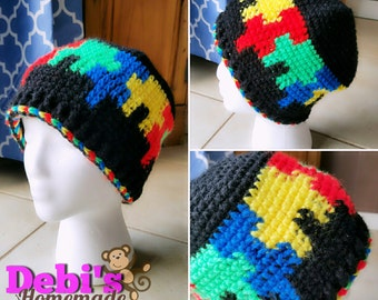 Autism Awareness/ Puzzle Piece Beanie, Made-to-Order Crochet