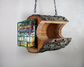 Bird Feeder - The Original Natural Log Feeder - Hand Made - Combo Seed & Suet - Wild Cherry - Unique - Upcycled from fallen trees