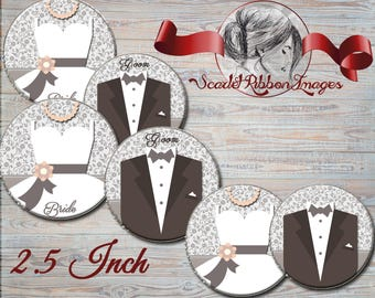 Bride and Groom- WEDDING -2.5 INCH circles- digital collage sheet- pocket mirrors, tags, cupcake toppers, scrapbooking, bridal shower tags