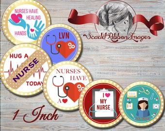 Nurse Bottle Cap Circles   LVN, RN, LPN-  600dpi, Collage Sheets, Labels, Cupcake topper, Gift Tags, BottleCap, key chain, badges