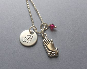 Praying Hands Necklace-Baptism Necklace-Christian Jewelry-Communion Necklace